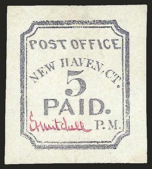 US Stamp Value Scott Catalogue #8XU1 - 1845 5c New Haven Postmasters Provisional. Robert Siegel Auction Galleries, Dec 2008, Sale 964, Lot 7