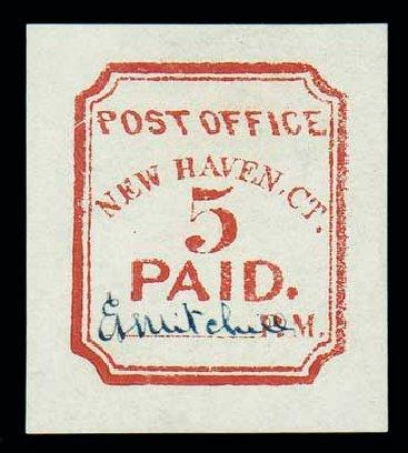 Costs of US Stamps Scott Cat. #8XU1: 1845 5c New Haven Postmasters Provisional. Matthew Bennett International, Jun 2007, Sale 319, Lot 1008