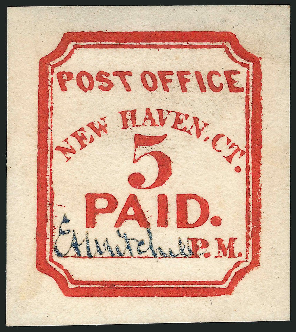 Value of US Stamps Scott #8XU1 - 5c 1845 New Haven Postmasters Provisional. Robert Siegel Auction Galleries, Jul 2014, Sale 1077, Lot 28