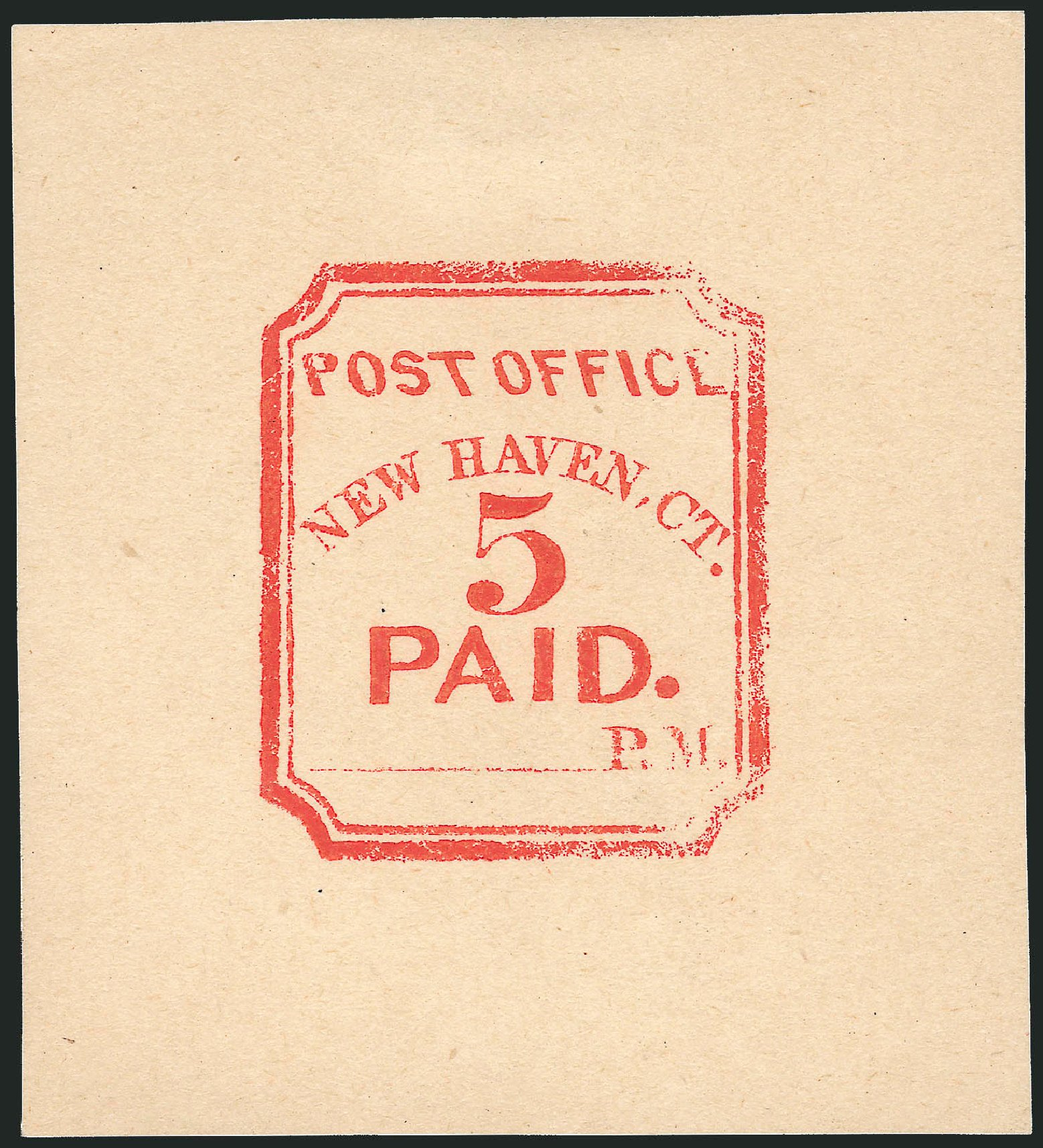 Value of US Stamps Scott Cat. 8XU1: 1845 5c New Haven Postmasters Provisional. Robert Siegel Auction Galleries, Oct 2010, Sale 997, Lot 5048