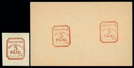 Value of US Stamp Scott # 8XU1: 1845 5c New Haven Postmasters Provisional. Matthew Bennett International, Jun 2007, Sale 319, Lot 1009