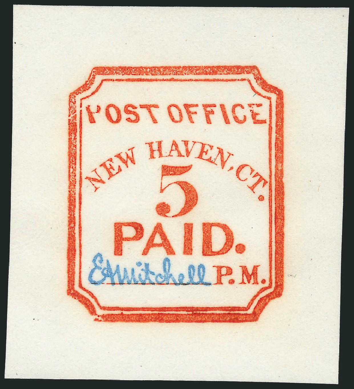 Cost of US Stamps Scott Catalogue 8XU1: 1845 5c New Haven Postmasters Provisional. Robert Siegel Auction Galleries, Jun 2012, Sale 1026, Lot 1099