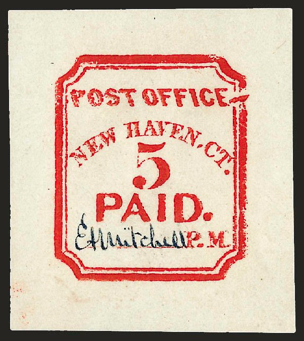 Price of US Stamps Scott Catalogue # 8XU1 - 1845 5c New Haven Postmasters Provisional. Robert Siegel Auction Galleries, Dec 2008, Sale 964, Lot 19