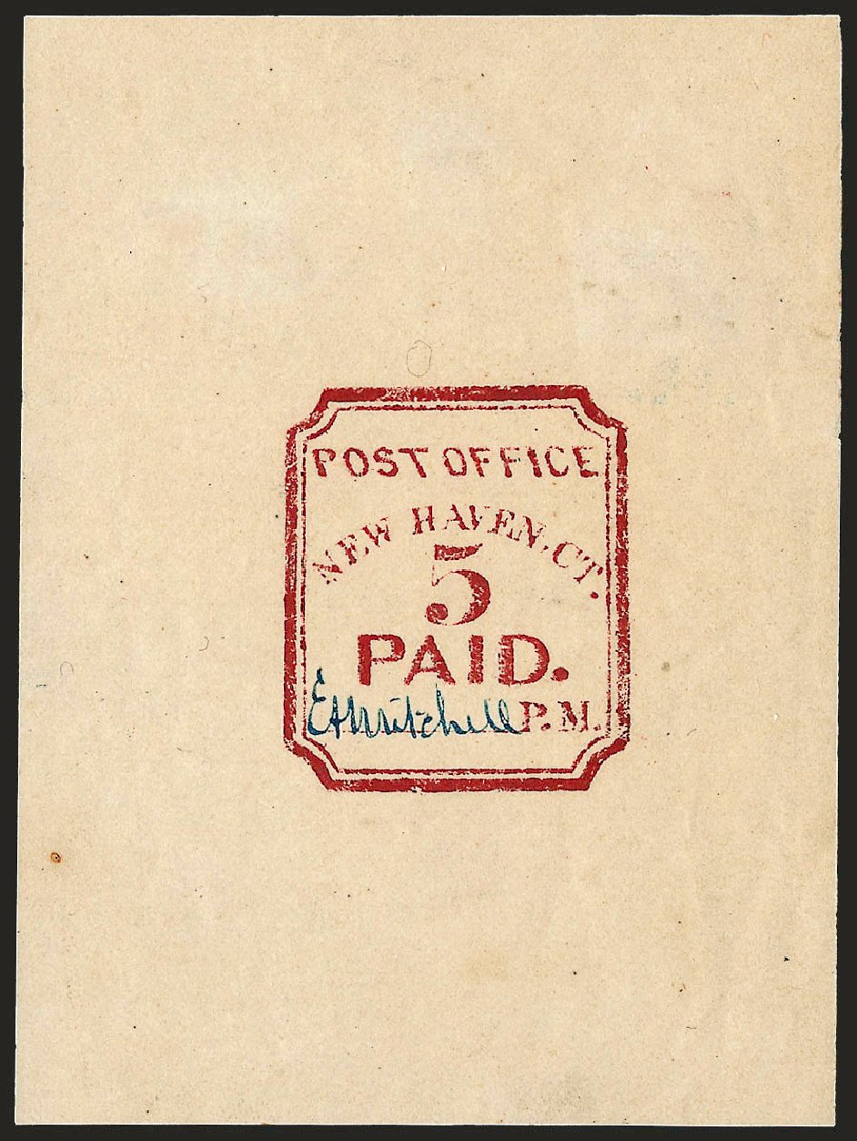 Cost of US Stamps Scott Catalogue # 8XU1: 5c 1845 New Haven Postmasters Provisional. Robert Siegel Auction Galleries, Dec 2008, Sale 964, Lot 29