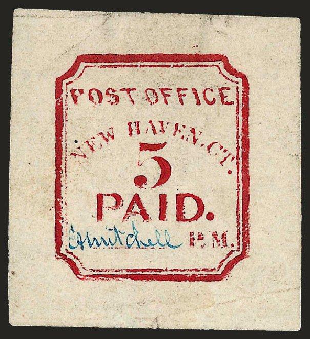 US Stamps Value Scott # 8XU1: 5c 1845 New Haven Postmasters Provisional. Robert Siegel Auction Galleries, Dec 2008, Sale 964, Lot 39