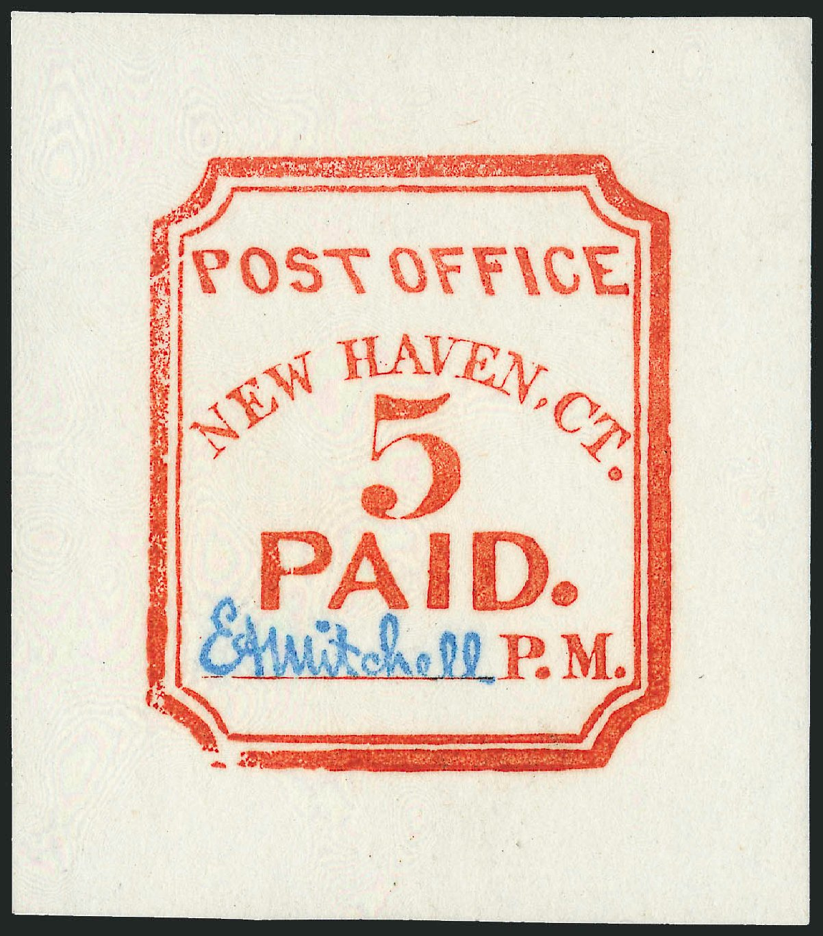 US Stamps Values Scott Cat. # 8XU1 - 5c 1845 New Haven Postmasters Provisional. Robert Siegel Auction Galleries, Oct 2010, Sale 997, Lot 5049