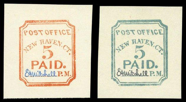 US Stamp Price Scott Catalog #8XU1 - 1845 5c New Haven Postmasters Provisional. Matthew Bennett International, Sep 2010, Sale 331, Lot 290