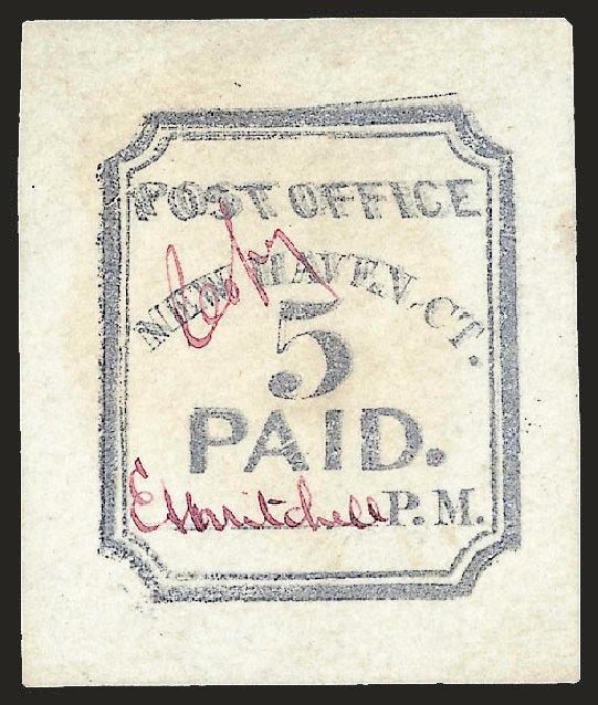 Price of US Stamp Scott Cat. 8XU1 - 5c 1845 New Haven Postmasters Provisional. Robert Siegel Auction Galleries, Dec 2008, Sale 964, Lot 10