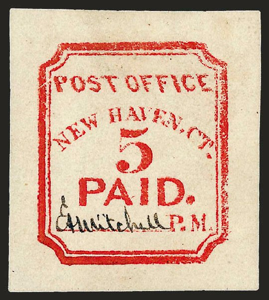 Value of US Stamp Scott Catalogue #8XU1 - 1845 5c New Haven Postmasters Provisional. Robert Siegel Auction Galleries, Dec 2008, Sale 964, Lot 20