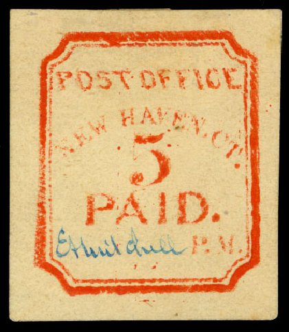 Prices of US Stamps Scott Catalogue #8XU1: 5c 1845 New Haven Postmasters Provisional. Daniel Kelleher Auctions, Dec 2013, Sale 640, Lot 1