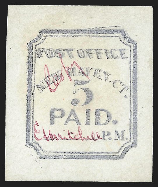 Price of US Stamp Scott 8XU1 - 5c 1845 New Haven Postmasters Provisional. Robert Siegel Auction Galleries, Jul 2015, Sale 1107, Lot 1