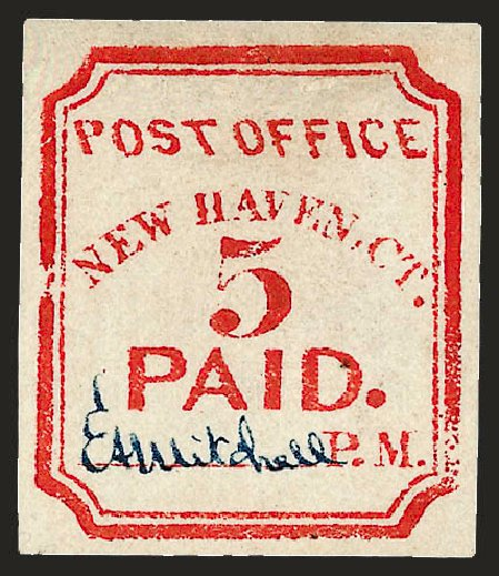 Costs of US Stamps Scott Catalog 8XU1: 1845 5c New Haven Postmasters Provisional. Robert Siegel Auction Galleries, Dec 2008, Sale 964, Lot 21