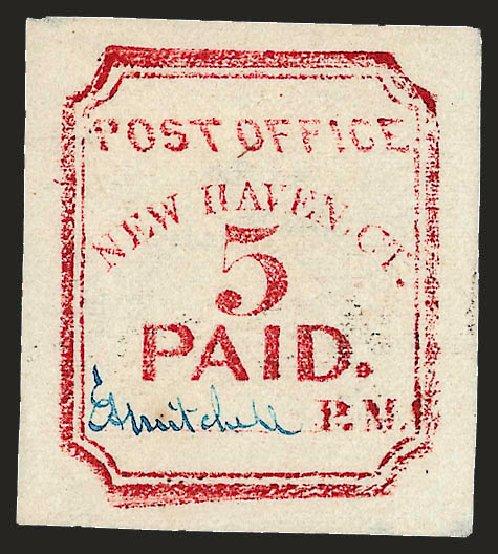 US Stamps Values Scott Catalogue 8XU1: 1845 5c New Haven Postmasters Provisional. Robert Siegel Auction Galleries, Dec 2008, Sale 964, Lot 31