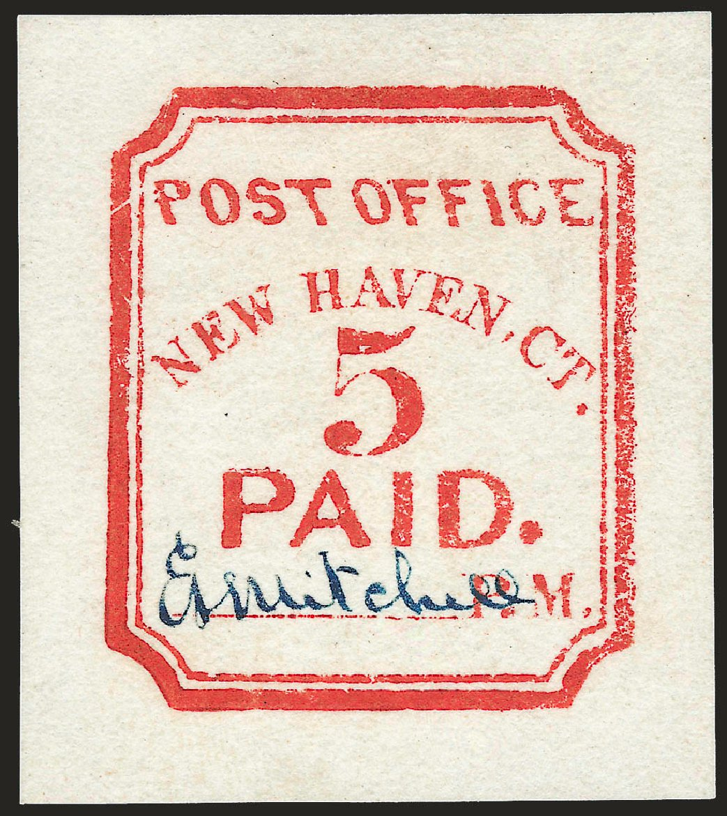Prices of US Stamps Scott Cat. # 8XU1: 5c 1845 New Haven Postmasters Provisional. Robert Siegel Auction Galleries, Apr 2010, Sale 984, Lot 1