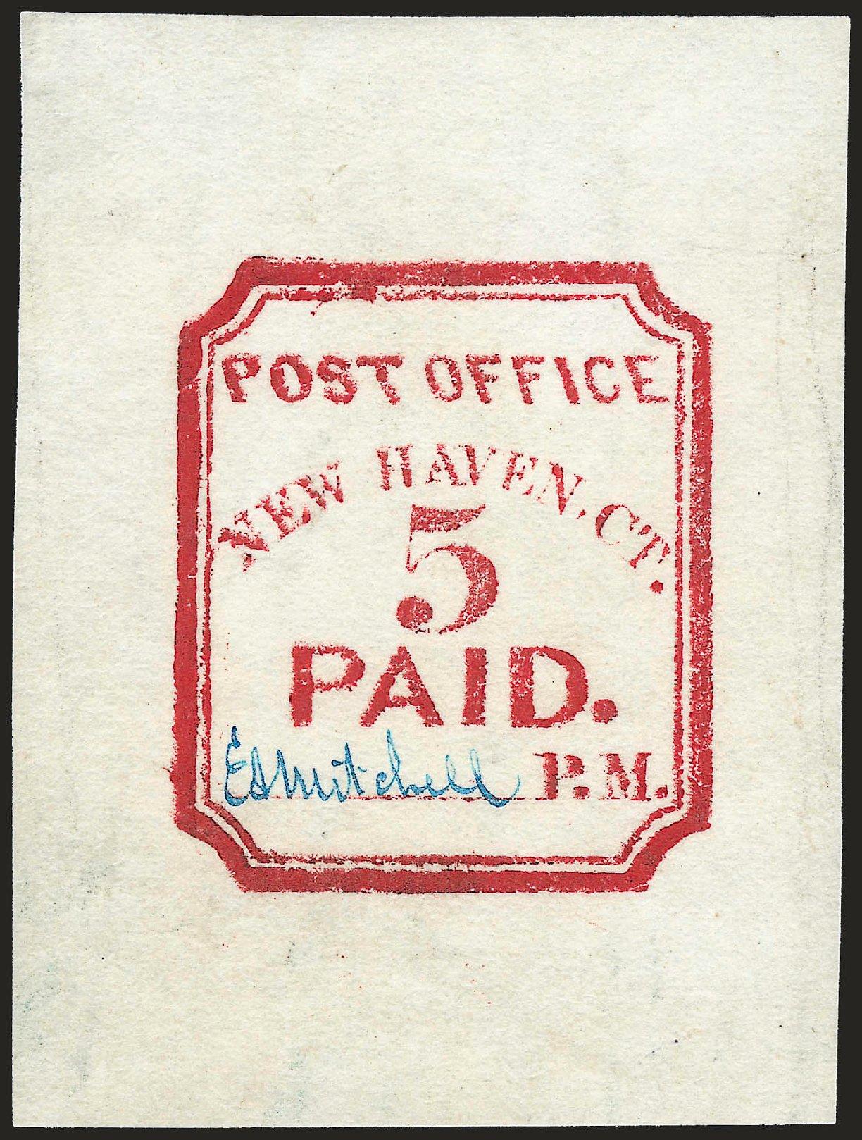 US Stamp Value Scott #8XU1: 5c 1845 New Haven Postmasters Provisional. Robert Siegel Auction Galleries, Jun 2010, Sale 992, Lot 2001