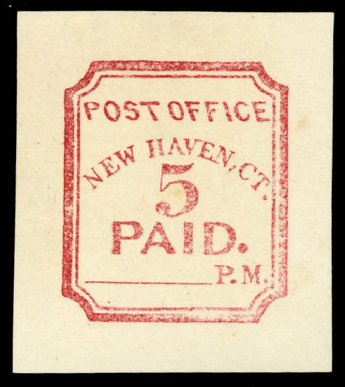 US Stamps Prices Scott # 8XU1: 1845 5c New Haven Postmasters Provisional. Daniel Kelleher Auctions, May 2014, Sale 652, Lot 24