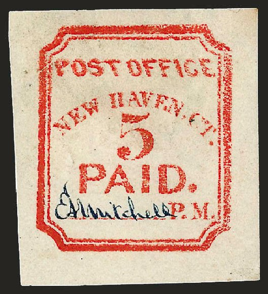 Value of US Stamps Scott Catalogue 8XU1: 5c 1845 New Haven Postmasters Provisional. Robert Siegel Auction Galleries, Dec 2008, Sale 964, Lot 24