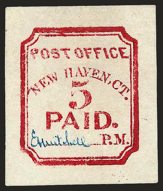 US Stamp Prices Scott Cat. 8XU1: 1845 5c New Haven Postmasters Provisional. Robert Siegel Auction Galleries, Dec 2008, Sale 964, Lot 34