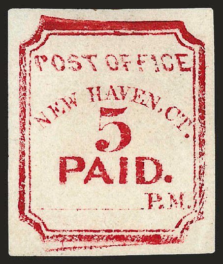 Prices of US Stamp Scott Catalogue 8XU1 - 5c 1845 New Haven Postmasters Provisional. Robert Siegel Auction Galleries, Dec 2008, Sale 964, Lot 44