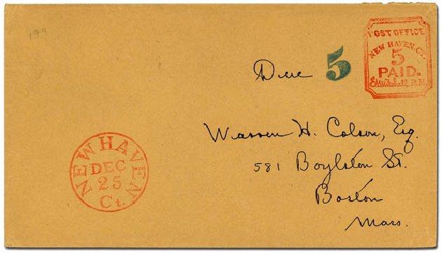 Cost of US Stamps Scott Catalog #8XU1: 1845 5c New Haven Postmasters Provisional. Daniel Kelleher Auctions, Dec 2012, Sale 633, Lot 335