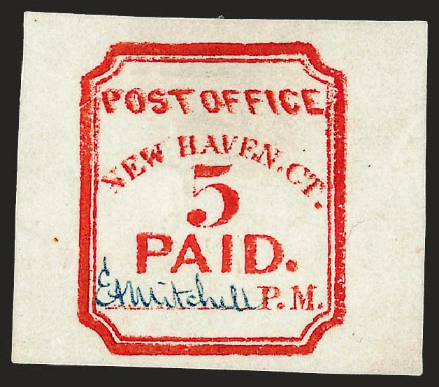 US Stamps Prices Scott 8XU1: 5c 1845 New Haven Postmasters Provisional. Robert Siegel Auction Galleries, Dec 2008, Sale 964, Lot 25