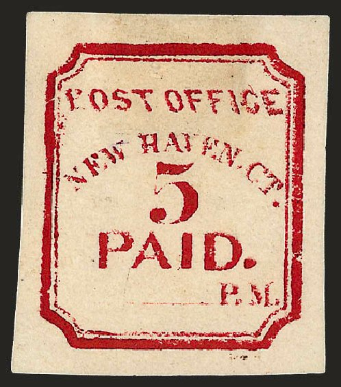 Cost of US Stamp Scott Catalogue # 8XU1: 1845 5c New Haven Postmasters Provisional. Robert Siegel Auction Galleries, Dec 2008, Sale 964, Lot 45