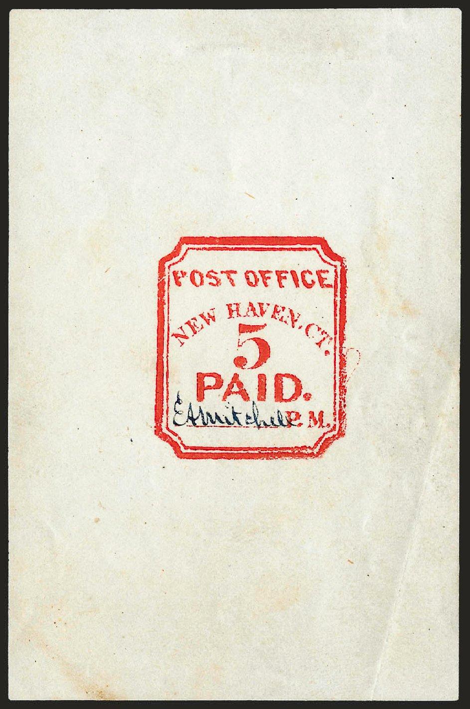 Price of US Stamp Scott 8XU1 - 5c 1845 New Haven Postmasters Provisional. Robert Siegel Auction Galleries, Dec 2008, Sale 964, Lot 12