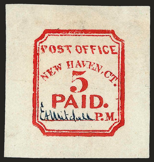 US Stamps Price Scott Catalogue 8XU1: 5c 1845 New Haven Postmasters Provisional. Robert Siegel Auction Galleries, Dec 2008, Sale 964, Lot 22