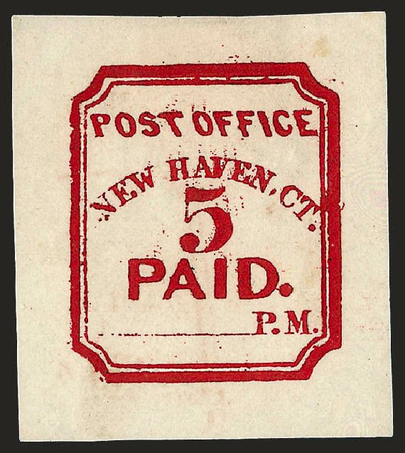 Prices of US Stamps Scott # 8XU1 - 5c 1845 New Haven Postmasters Provisional. Robert Siegel Auction Galleries, Dec 2008, Sale 964, Lot 42