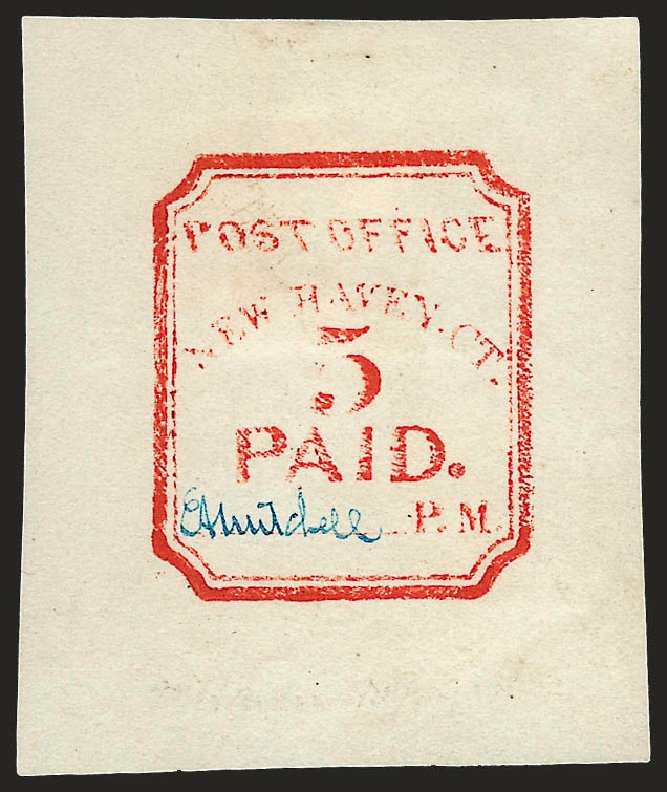 US Stamp Values Scott 8XU1 - 5c 1845 New Haven Postmasters Provisional. Robert Siegel Auction Galleries, Dec 2008, Sale 964, Lot 13
