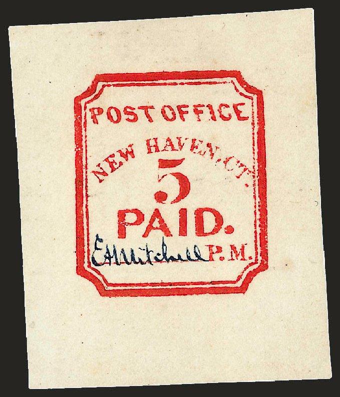 US Stamps Values Scott #8XU1 - 5c 1845 New Haven Postmasters Provisional. Robert Siegel Auction Galleries, Dec 2008, Sale 964, Lot 23