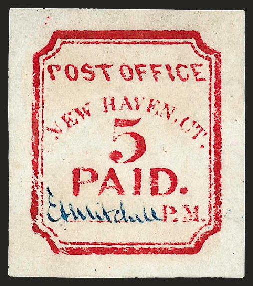 Price of US Stamp Scott #8XU1: 5c 1845 New Haven Postmasters Provisional. Robert Siegel Auction Galleries, Dec 2008, Sale 964, Lot 33