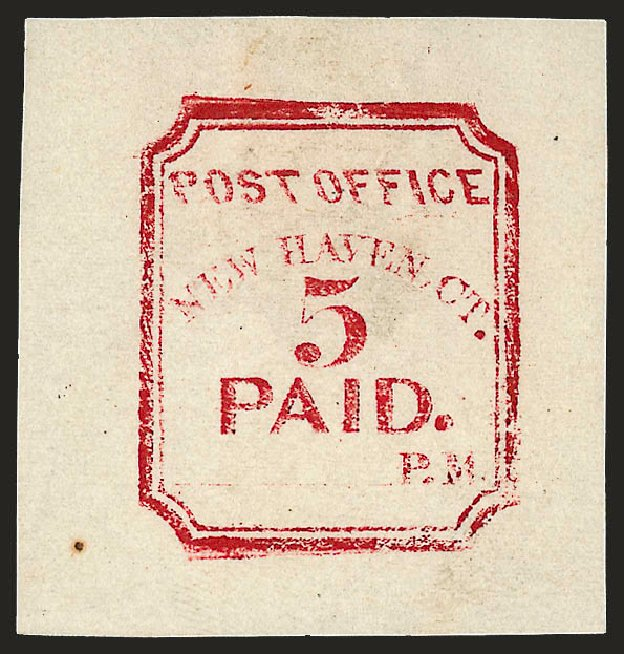 US Stamp Prices Scott Cat. # 8XU1 - 5c 1845 New Haven Postmasters Provisional. Robert Siegel Auction Galleries, Dec 2008, Sale 964, Lot 43