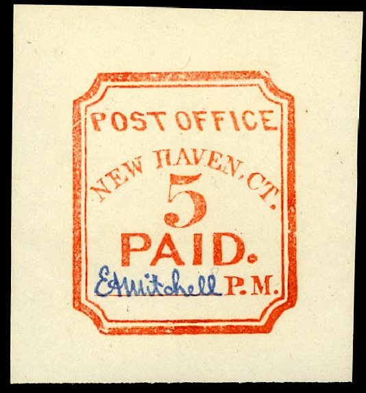 US Stamp Value Scott Cat. 8XU1: 1845 5c New Haven Postmasters Provisional. Daniel Kelleher Auctions, Dec 2012, Sale 633, Lot 336