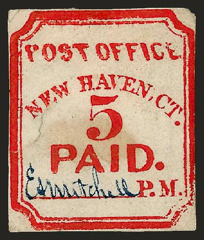 US Stamps Values Scott #8XU1: 5c 1845 New Haven Postmasters Provisional. Robert Siegel Auction Galleries, Dec 2008, Sale 964, Lot 26