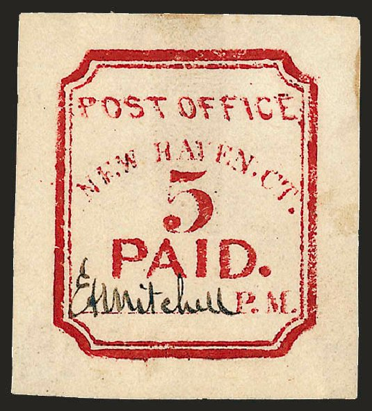 Prices of US Stamp Scott # 8XU1: 1845 5c New Haven Postmasters Provisional. Robert Siegel Auction Galleries, Dec 2008, Sale 964, Lot 36