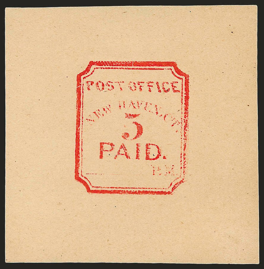 Prices of US Stamp Scott Cat. #8XU1 - 5c 1845 New Haven Postmasters Provisional. Robert Siegel Auction Galleries, Dec 2008, Sale 964, Lot 46