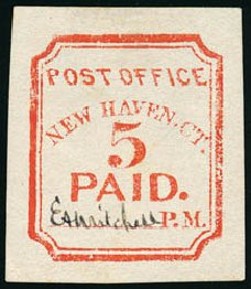 Cost of US Stamps Scott # 8XU4 - 5c 1845 New Haven Postmasters Provisional. Schuyler J. Rumsey Philatelic Auctions, Apr 2015, Sale 60, Lot 1878