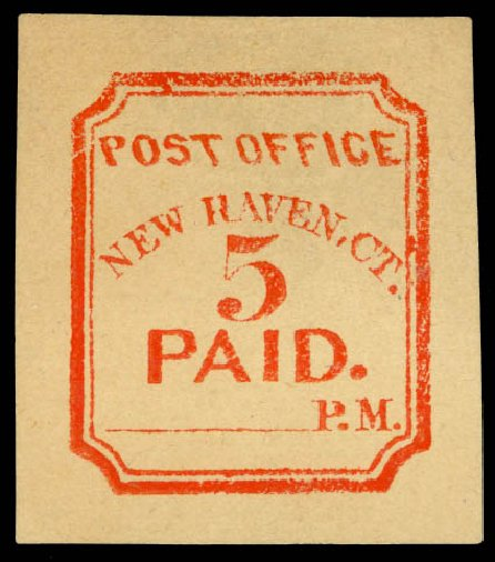 Price of US Stamp Scott # 8XU4: 1845 5c New Haven Postmasters Provisional. Daniel Kelleher Auctions, May 2014, Sale 652, Lot 25