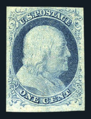 US Stamp Values Scott # 9 - 1c 1852 Franklin. Harmer-Schau Auction Galleries, Aug 2015, Sale 106, Lot 1278