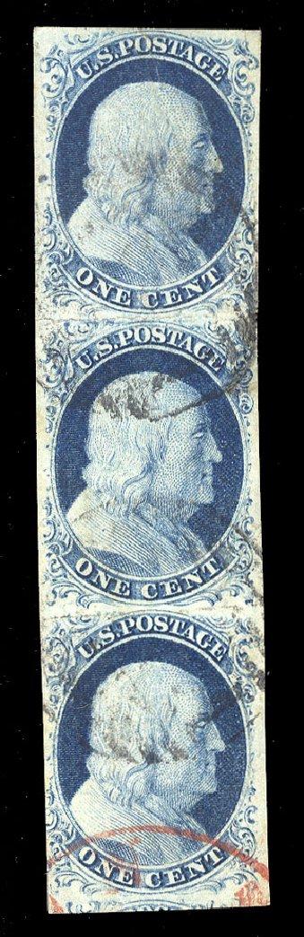 Value of US Stamp Scott #9 - 1c 1852 Franklin. Cherrystone Auctions, Jul 2015, Sale 201507, Lot 9
