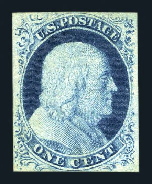Cost of US Stamps Scott Catalog 9: 1852 1c Franklin. Harmer-Schau Auction Galleries, Aug 2015, Sale 106, Lot 1279