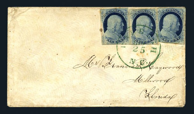 US Stamps Price Scott 9: 1c 1852 Franklin. Harmer-Schau Auction Galleries, Aug 2015, Sale 106, Lot 1289