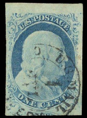 Costs of US Stamp Scott Cat. 9 - 1c 1852 Franklin. Daniel Kelleher Auctions, Aug 2015, Sale 672, Lot 2139