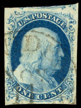Price of US Stamp Scott Catalogue 9 - 1c 1852 Franklin. Daniel Kelleher Auctions, Aug 2015, Sale 672, Lot 2140