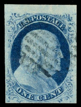 Price of US Stamps Scott Cat. 9 - 1c 1852 Franklin. Daniel Kelleher Auctions, Aug 2015, Sale 672, Lot 2141