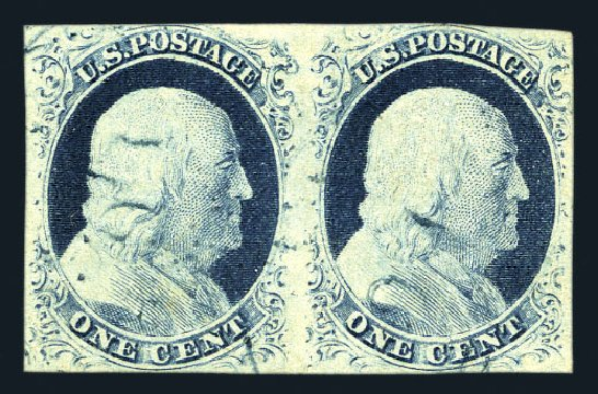 Value of US Stamps Scott Catalog 9 - 1852 1c Franklin. Harmer-Schau Auction Galleries, Aug 2015, Sale 106, Lot 1284