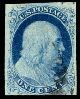 Values of US Stamps Scott 9: 1852 1c Franklin. Daniel Kelleher Auctions, Aug 2015, Sale 672, Lot 2142