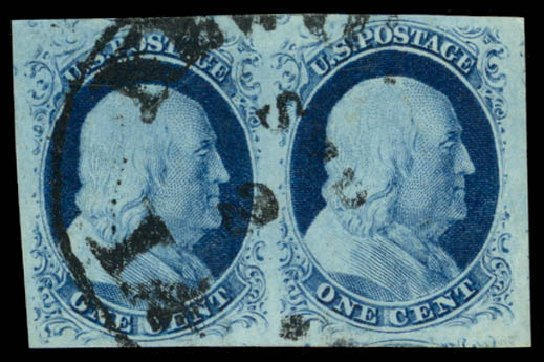 Values of US Stamp Scott Catalog #9 - 1c 1852 Franklin. Daniel Kelleher Auctions, Aug 2015, Sale 672, Lot 2143
