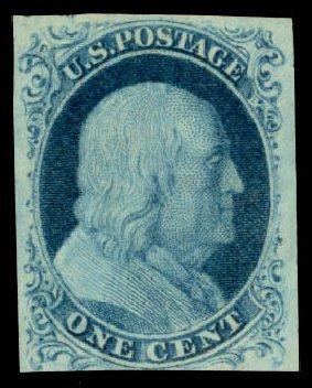 Prices of US Stamp Scott Catalogue # 9: 1852 1c Franklin. Daniel Kelleher Auctions, Aug 2015, Sale 672, Lot 2136